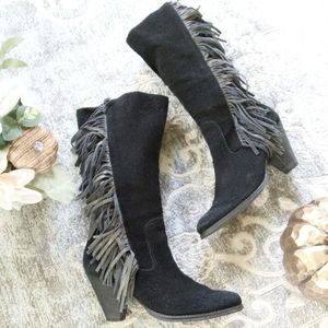 REBA COWGIRLY Black Suede Leather Fringed Boots